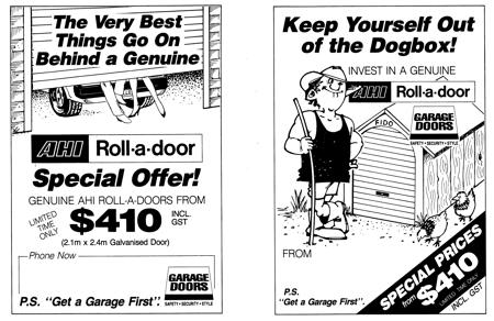 AHI Roller Door Ads from the Late 80's Era.